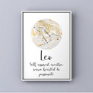 Leo zodiac signs modern constellation art print
